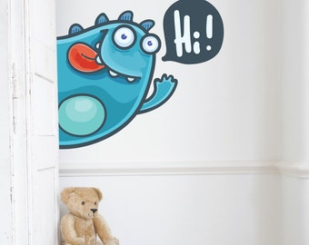 Peaking Monster Hi Kids Wall Decal Sticker PC0461