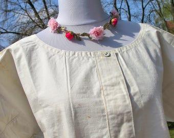 Linen Nightgown - Chemise  - summer linen dress - antique linen dress