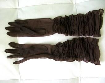 Brown Nylon Wrinkled Gloves