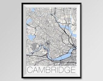 CAMBRIDGE Massachusetts Map, Cambridge City Map Print, Cambridge Map Poster, Cambridge Wall Map Art, Cambridge gift, Harvard University