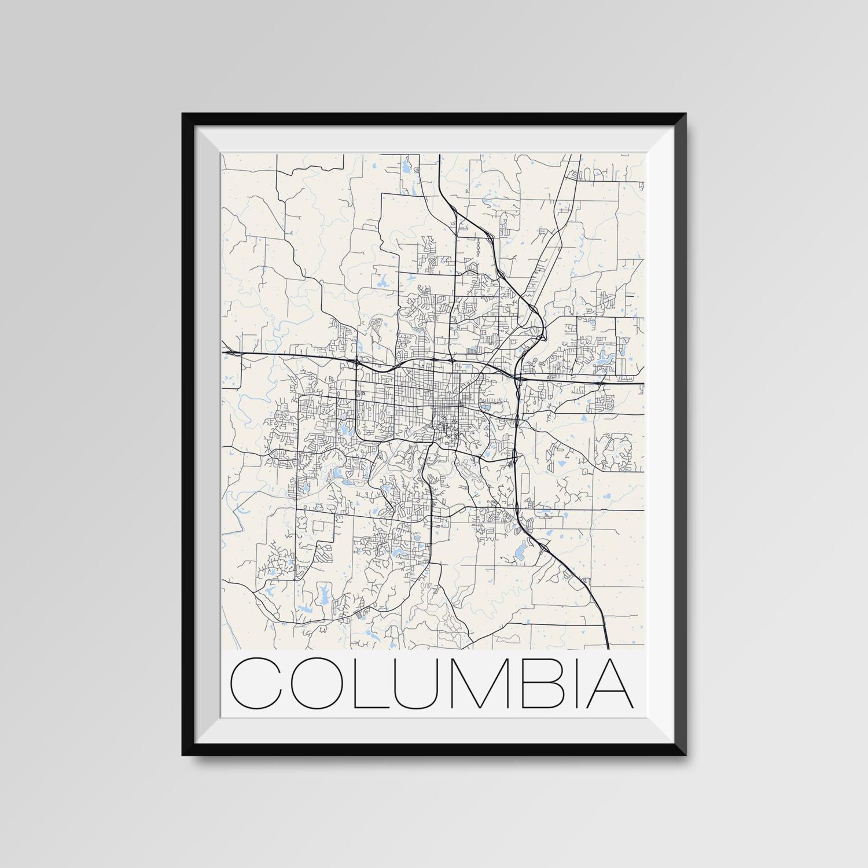 COLUMBIA Missouri Map Columbia City Map Print Columbia Map
