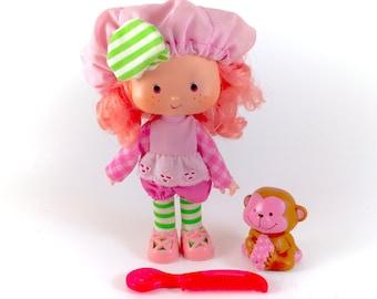 Vintage Strawberry Shortcake Raspberry Tart Doll & Rhubarb Monkey Comb 100% Complete Dress Shoes Hat Tights Retro 80s 1980s Original Classic