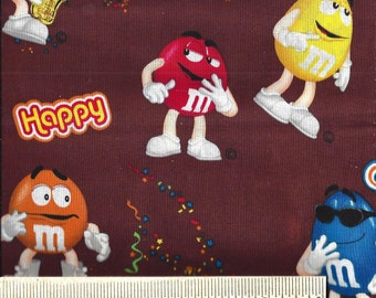 Rare! Licensed Springs Industry Fabrics - M&Ms Candy Characters from 2012 - Quilt Shop Quality - 100% Cotton -  Sold by the Yard