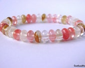 Tourmaline Bracelet Watermelon Tourmaline Healing bracelet Semiprecious stone Chakra bracelet yoga braceletbeaded braceletrondelle b