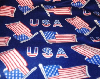 Polar Fleece/Novelty Fabric/USA/Anti Pill/Sewing/Flag/Fabric by the Yard/Quilt/Supplies/Navy/Blue/Red/White/America/No Sew