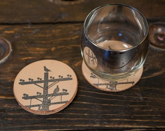Pigeon Tree Crafting Full Grain Natural Leather Coasters Pigeon Tree Logo Coasters