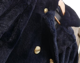 Deep Blue Faux Fur Coat / Double Breasted Luxurious Womens Coat- Vintage