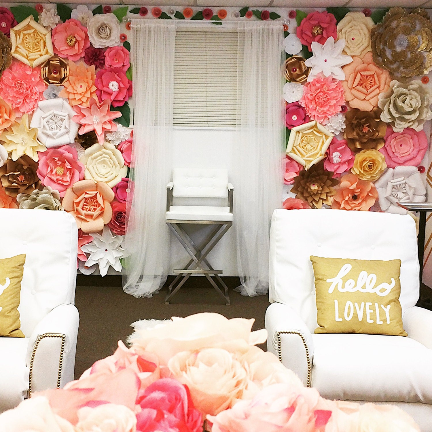 9x8 paper flower backdrop giant paper flowers wall paper for Decoraciones para 15 anos modernas