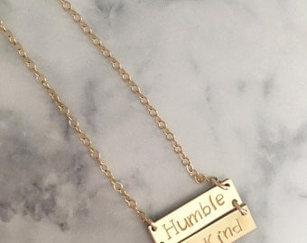 Double Bar Hand Stamped Necklace//Gold Filled//Custom Necklace