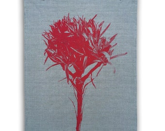 Gymea Lily flax linen tea towel - magenta print, hand screen printed, native Australian flower, kitchen gift