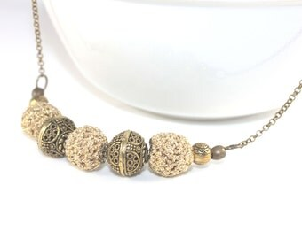 Handmade beaded necklace and filigree, crochet beaded necklace, crochet necklace, beaded necklace handmade, statement necklaces