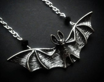Large Silver Bat Pendant Necklace