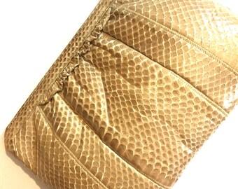 Vintage ruffle snakeskin clutch/cross body- snakeskin ruffle vintage purse