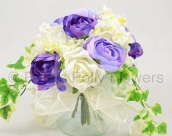 Artificial Wedding Flowers, Purple, Lilac & Ivory Jam Jar Tea Table Decoration Posy