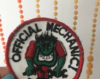 Vintage Official Mechanic Monster Patch Deadstock
