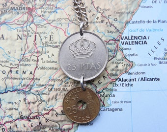 Spain coin necklace - 3 different designs - made of original coins from Spain