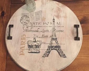 """Parisian inspired wood tray,18"""" wood round,rustic serving tray,round wooden tray,ottoman tray,decorative tray,wood coffee tray"""
