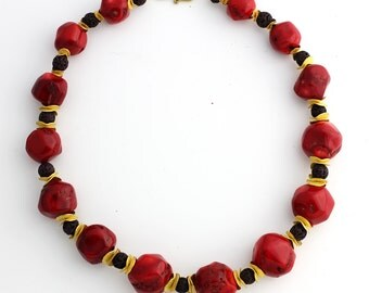 Graduated Coral and Lava Necklace KC4210