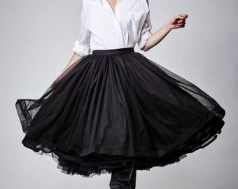 Halloween Skirt, Womens Skirt, Tulle Tutu Skirt, Black Tutu Skirt, Knee Skirt, Party Tutu Skirt, Rockabilly Skirt, Pin Up Skirt
