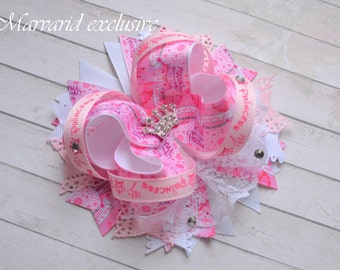 Bow Princess Pink bow crown Bow Princess First birthday Bow girls Bow hair clip.