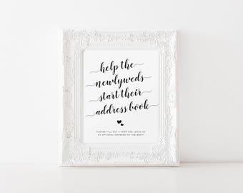 Help the Newlyweds Make an Address Book Printable, Address Your Envelope Printable, Printable Address Cards, Wedding Thank You card Address