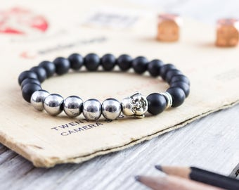 8mm - Matte black onyx and silver plated hematite beaded silver smiling Buddha head stretchy bracelet, mens bracelet, womens bracelet