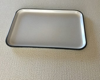 Vintage white - black enamel tray