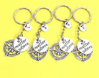 Four Friends, Best friends keychain -set of four, bff charm, 4 bff keychain,set of 4 best friend,customized keychain,Friendship initial gift