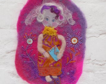 "Handmade Wall Decor - Embroidered and Felted hanging - ""Chloe"" - Colourful picture - Birthday present for all girls.  New home - Home decor."