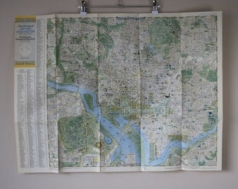 National Geographic A Pocket Map of Central and Suburban Washington D.C. 1948 Vintage