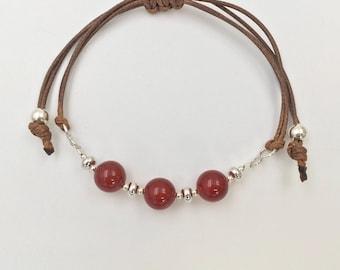 Bracelet in silver and carnelian