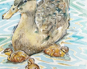 Duck art painting duckling watercolour painting original wildlife art cute ducks , Mother duck with her Ducklings by EdieBrae