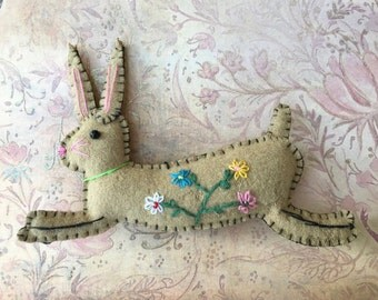 Sweet Embroidered Felt Bunny Ornament