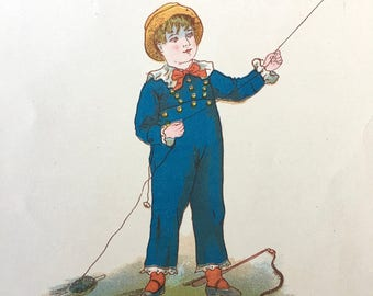 Darling Page From Victorian Era Child's Book-Boy Flying Kite