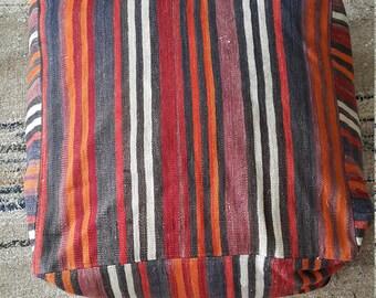 """Kilim Pillow, 2'0""""x2'0"""" 60×60cm Height 0'8"""" 25 Cm, Kilim Pouf, Oversize Pillow, Pouf, Tribal Kilim, Ottoman Pouf, Moroccan Pouf, Aztec Pillo"""