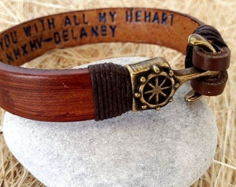 Father's Day Gifts ,Personalized Bracelet leather bracelet, Male Bracelet, Custom Bracelet, Graduation Gift,