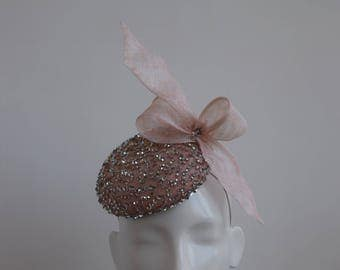 Blush Pink Silver Hat - Pastel Pink Fascinator - Pale Pink Cocktail Hat - Wedding Hat - Silver Hatinator - Blush Pink Fascinator - Shimna