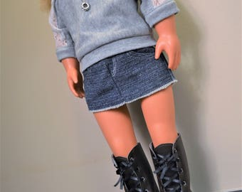 Fits American Girl 18 inch- Boots, Miniskirt, Top, & Necklace