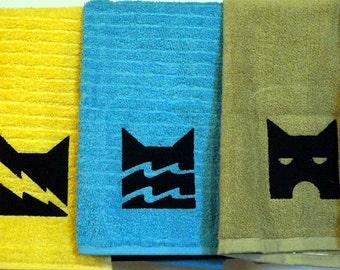 Warriors Cats Embroidered Hand Towels ThunderClan RiverClan ShadowClan WindClan StarClan Erin Hunter clan emblem yellow blue green white cat