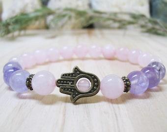 Hamsa Bracelet Rose Quartz Bracelet Amethyst Bracelet Gemstone Bracelet Chakra Bracelet Energy Bracelet Healing Bracelet Calming Bracelet
