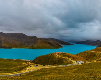 Yamdrok Lake Photo, Holy Lake, Tibet Mountain Landscape Photo, Lake and Mountain Art, Fine Art Landscape Photography