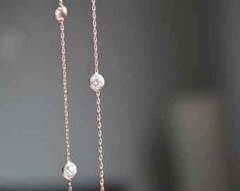 Rose gold sparkly cz necklace, cz by the yard, link chain, celebrity inspired, clear cubic zirconia, FREE SHIPPING