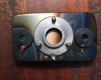 Handmade industrial welded metal belt buckle