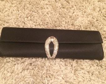Rodo black satin clutch bag , with crystal clasp