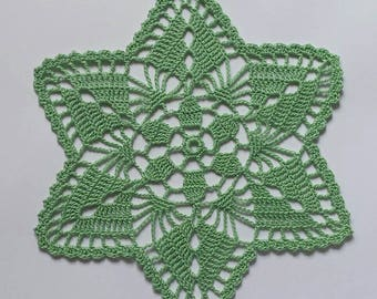 "New 6.9"" green handmade crochet doily / Lace doily / Table mat"
