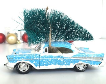 1957 Chevy Bel Air Christmas Decor - Retro Blue - Retro Christmas Tree Decor - Christmas Mantle Decorations - Vintage Christmas - Gift