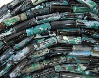 "13mm black green stripe agate tube beads 15.5"" strand 35240"