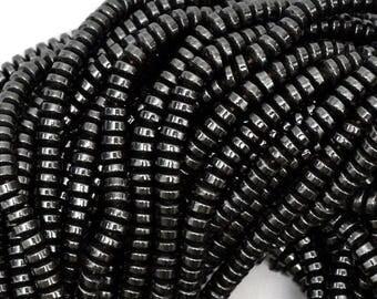 """4mm hematite heishi rondelle beads 16"""" strand S1 38990"""