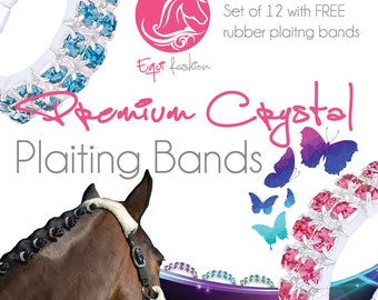 Equifashion Horse Crystal Plaiting Bands - Double Row Pack of 10