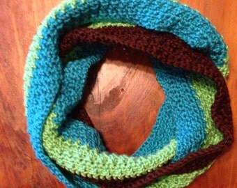 Crochet Cowl Scarf, Blue, Green and Brown